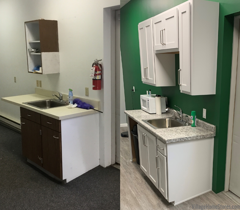 Side by side photo of an office kitchenette remodel. Complete start to finish remodel by Village Home Stores