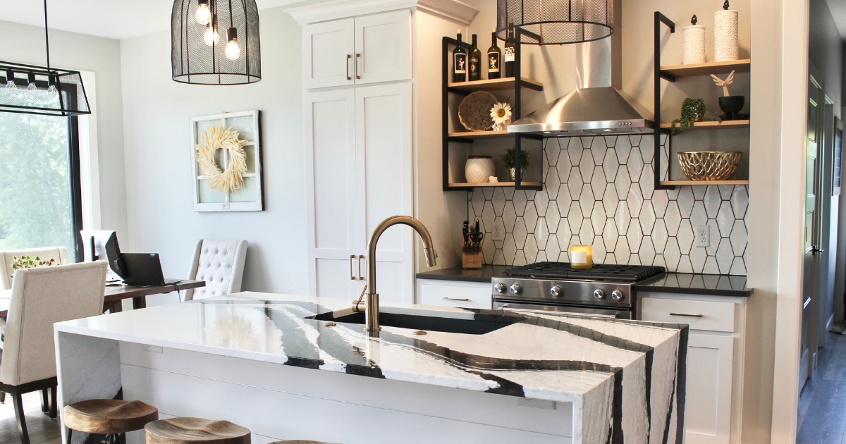 trendy kitchen with white and black details