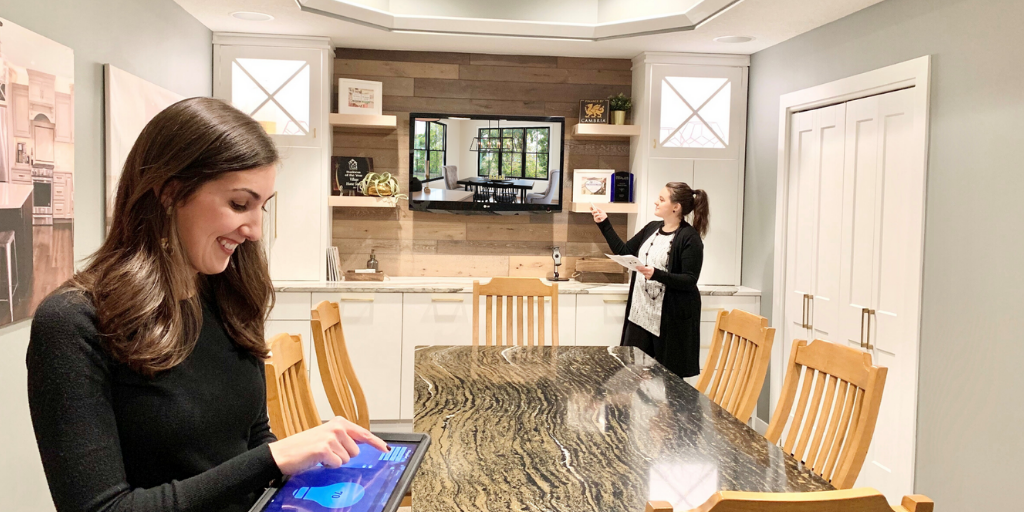 Keri and Natasha set up our connected smart home lighting at Village Home Stores