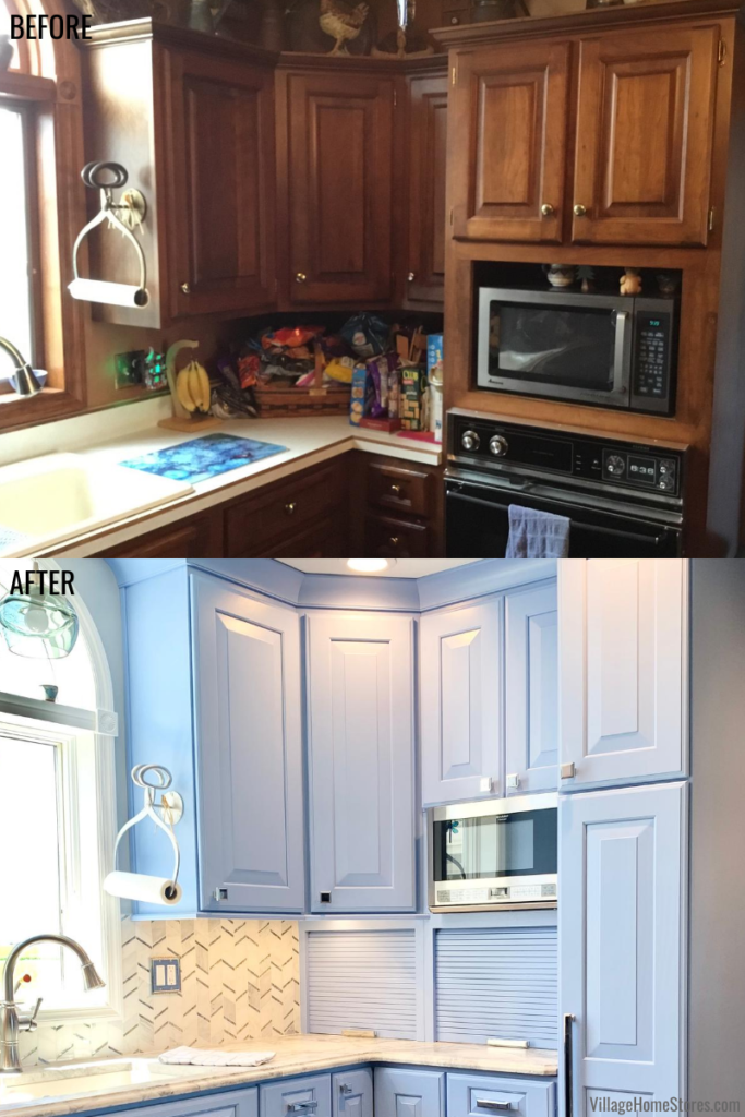 Kitchen remodel before and after in a farmhouse in rural Illinois. From dark walls and cabinets to bright and blue.