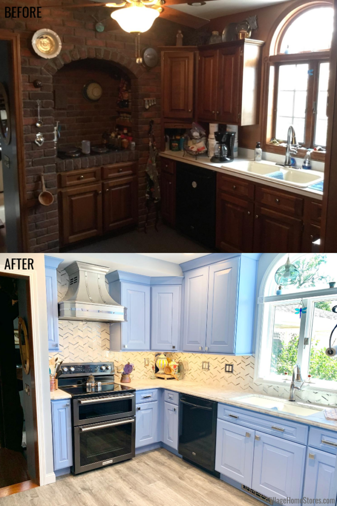 Kitchen remodel before and after in a farmhouse in rural Illinois. From dark brown and brick to bright and blue.