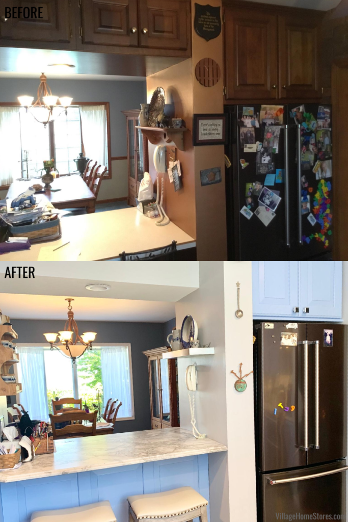 Kitchen remodel before and after in a farmhouse in rural Illinois. Pass through area from the kitchen to the dining room.