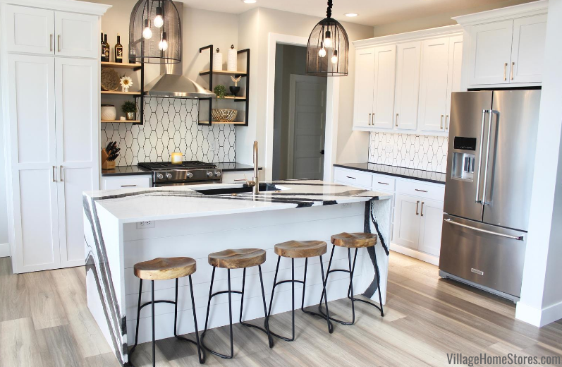 White and black kitchen design by village home stores
