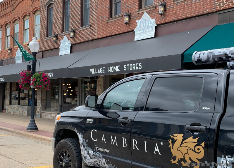 Cambria quartz truck parked outside of Village Home Stores in downtown Geneseo, IL