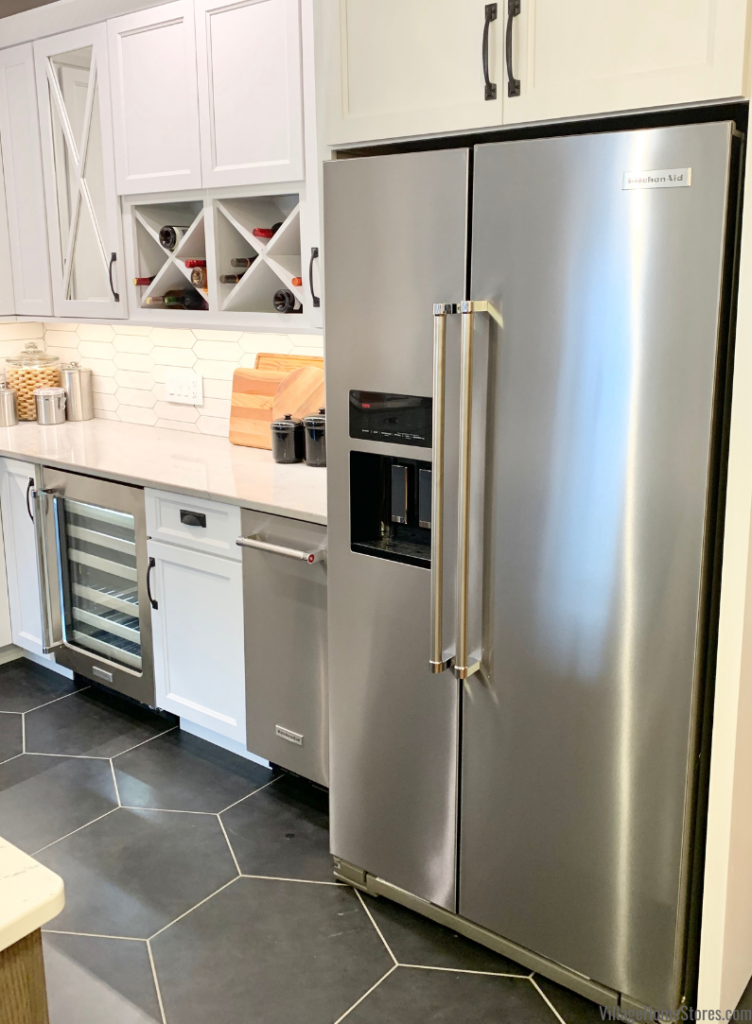 KitchenAid KRSC703HBS side by side counter depth refrigerator in print shield stainless finish