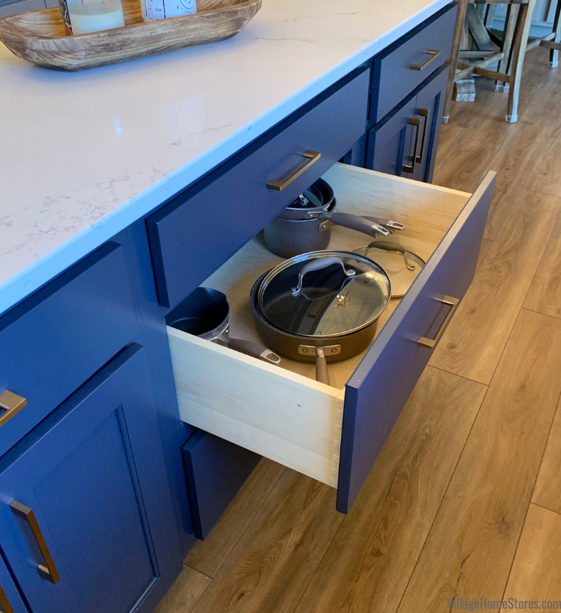 Deep pots and pans drawer in blue painted kitchen island
