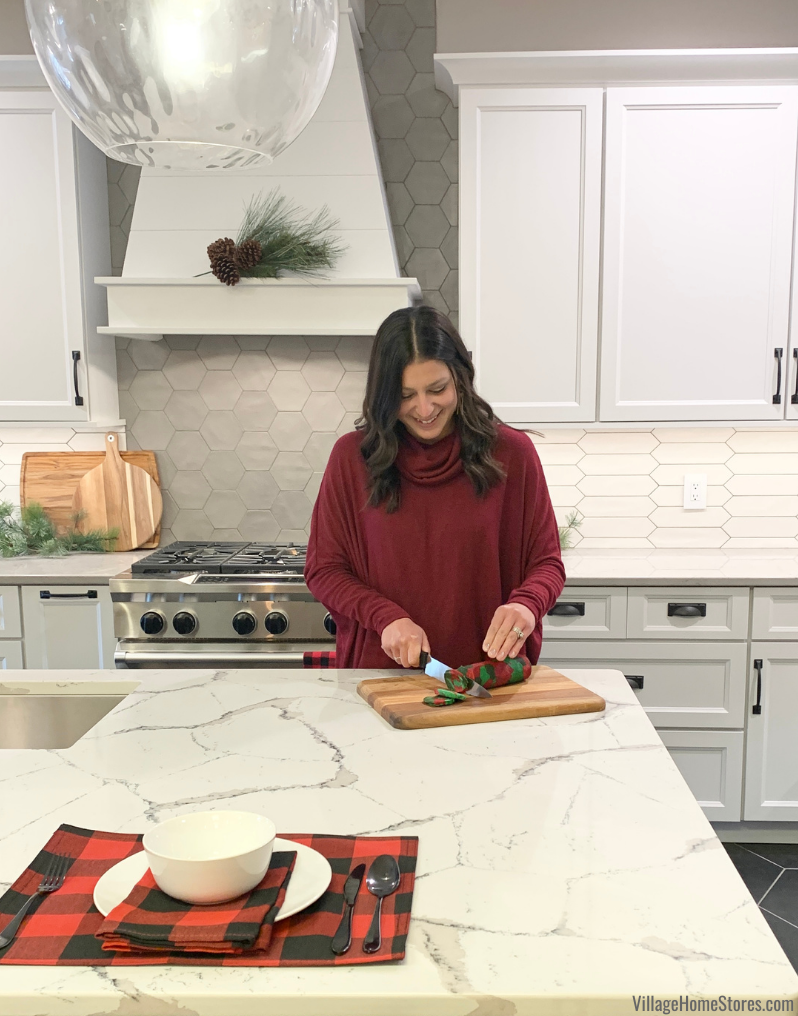 white cabinet kitchen with holiday decor and Christmas cookies