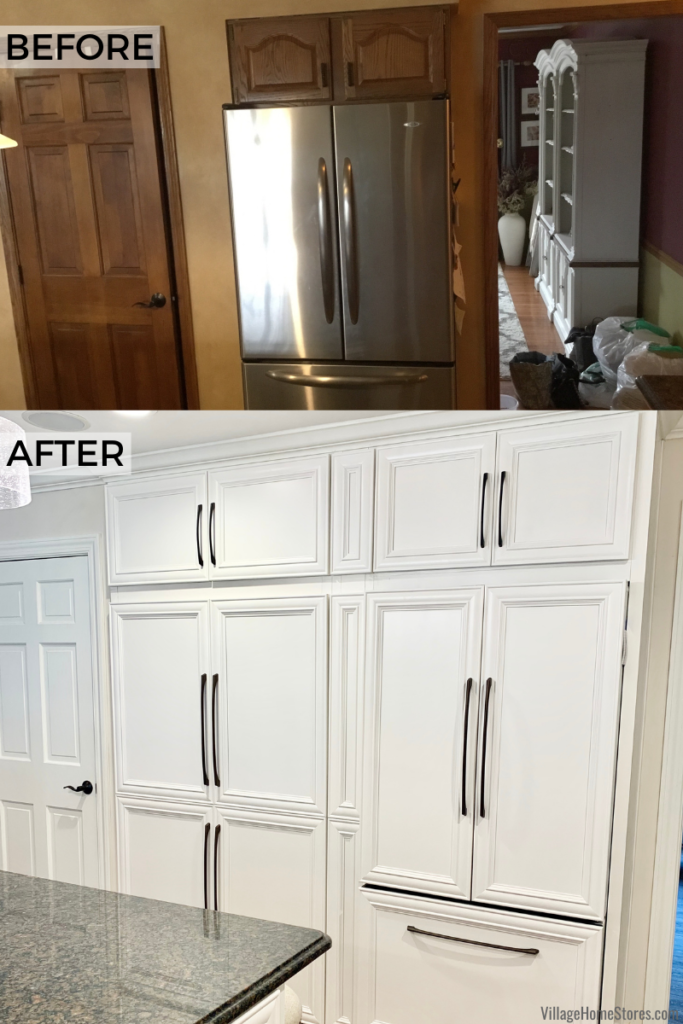 Before and after kitchen photos of closet converted to a pantry and a built in paneled refrigerator