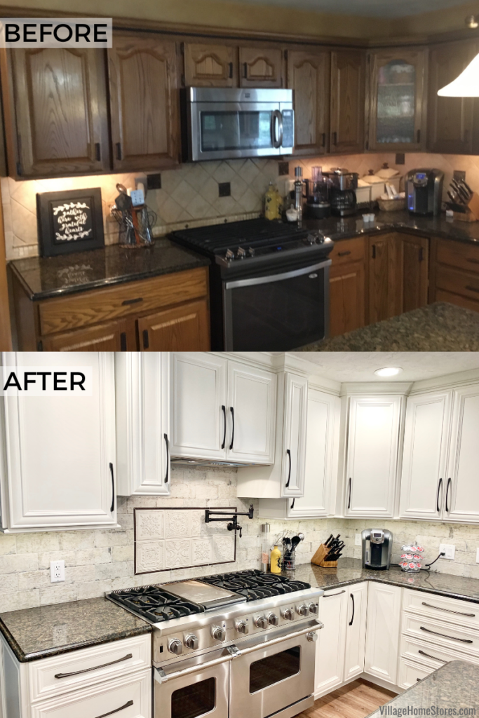 Before and after kitchen remodel in Geneseo IL from Village Home Stores