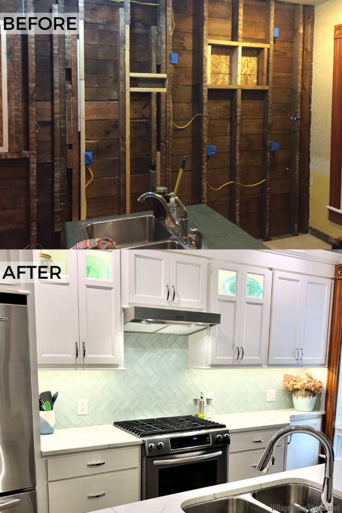 before and after image of old home kitchen renovation in Geneseo, IL showing during photo with electrical rough in and finished kitchen photo.