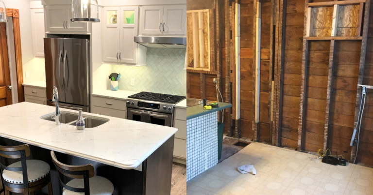 kitchen remodel side by side of finished and during images