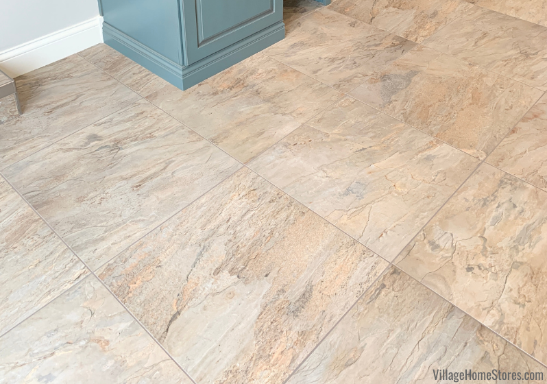 """24 x 24 tiles in """"Golden Gray"""" color from the Lifestyle Aurora series installed by Village Home Stores in a Rock Island Quad Cities breezeway."""