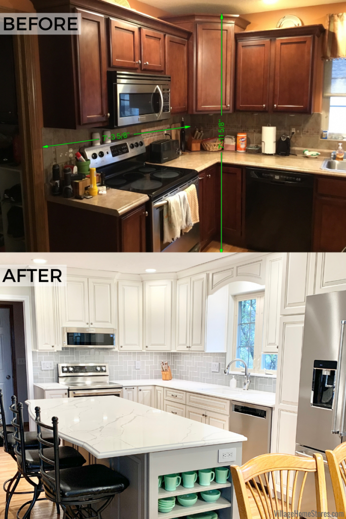 Geneseo Illinois kitchen remodel before and after images showcasing updated cabinetry, countertops, wall tile, and appliances from Village Home Stores.
