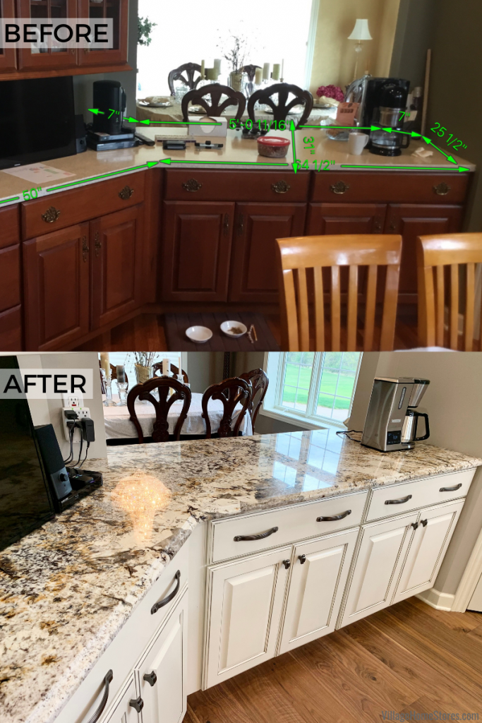 Quad Cities area kitchen before and after showing a transformation with existing cabinets painted in place and new granite counters installed