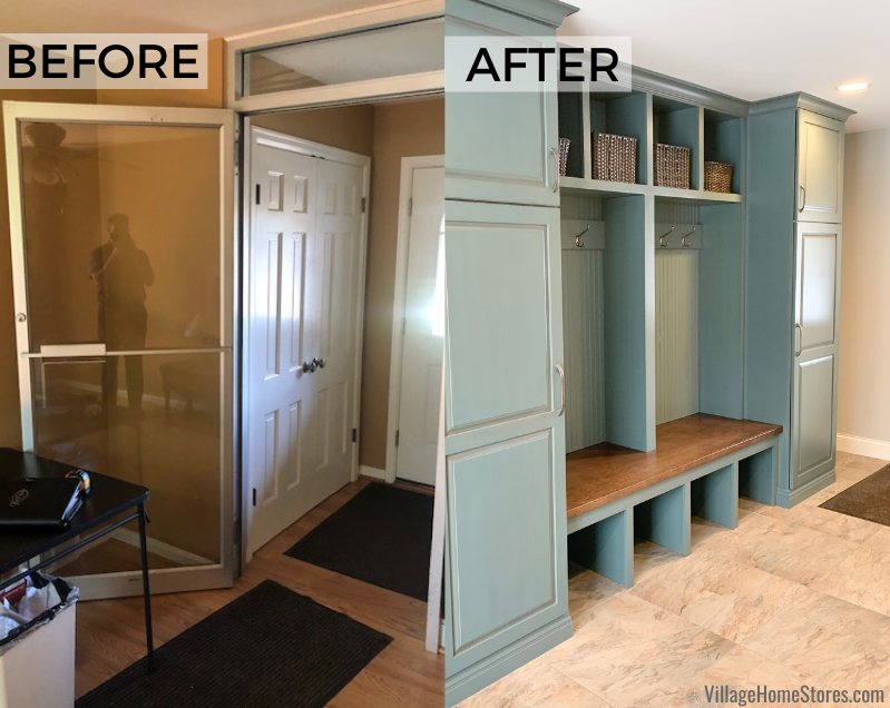 Before and after breezeway. Village Home Stores converted an existing closet into this new bench seat with storage in a Rock Island Illinois home.