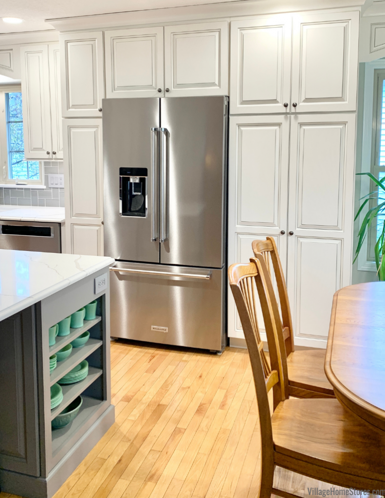 Stainless Steel French Door KitchenAid counter depth refrigerator in a Geneseo Illinois home remodeled from start to finish by Village Home Stores.