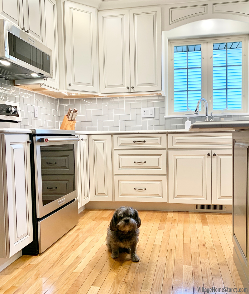KitchenAid appliances and Koch Cabinetry modeled by a cute furry homeowner in a Geneseo Illinois. Kitchen remodeled from start to finish by Village Home Stores.