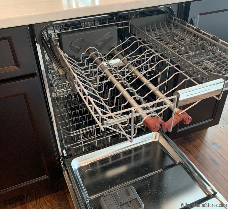 3 rack dishwasher by KitchenAid with larger interior capacity installed in a Coal Valley Illinois kitchen with appliances from Village Home Stores.