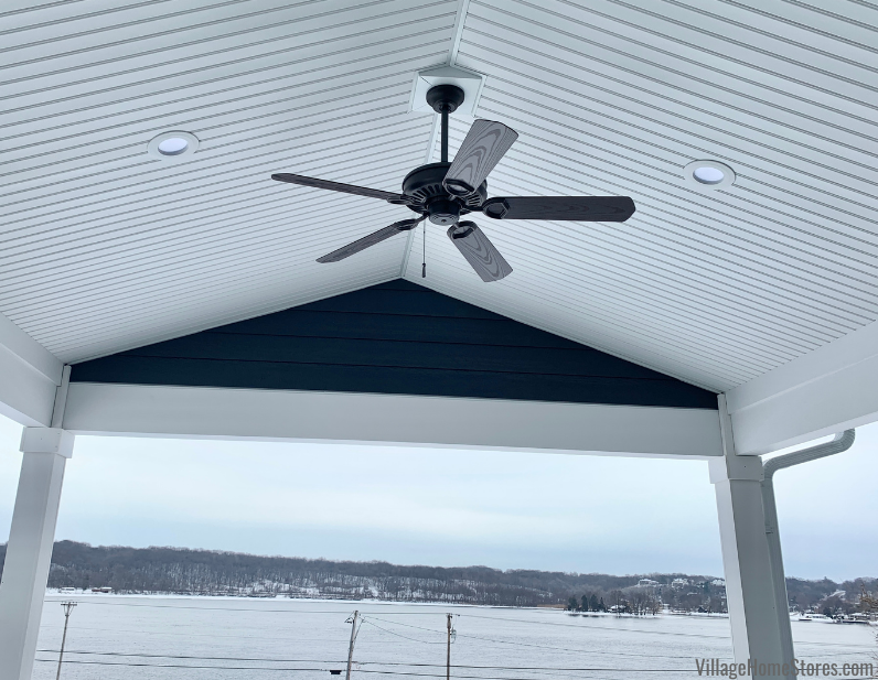 """Wet rated outdoor patio fan on covered deck facing Mississippi River. 54"""" Sundowner by Minka from Village Home Stores."""