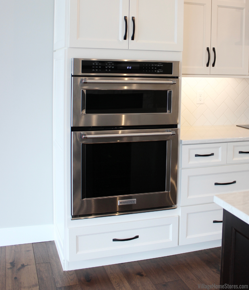Combination microwave and wall oven by KitchenAid installed in a Coal Valley Illinois kitchen from Village Home Stores for Hazelwood Homes.