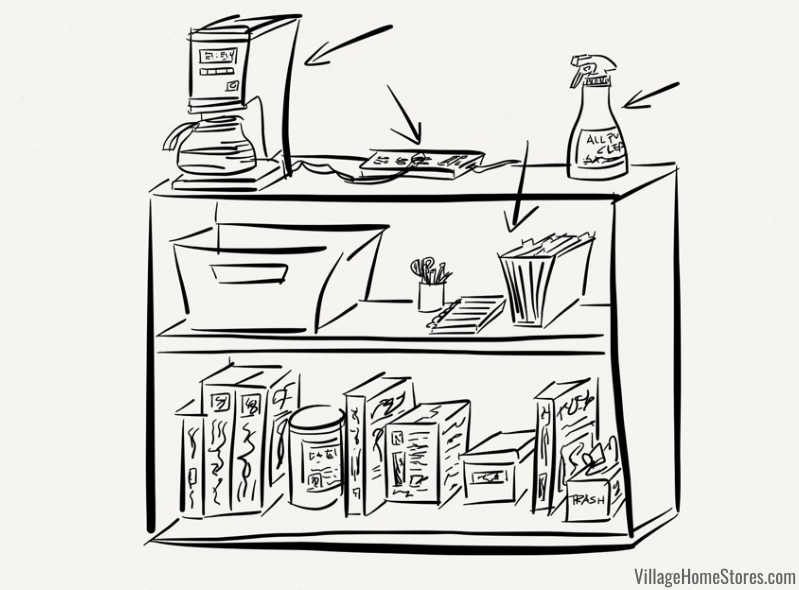 sketch of kitchen remodel temporary kitchen setup with small appliances, command center, and lunch packing supplies.
