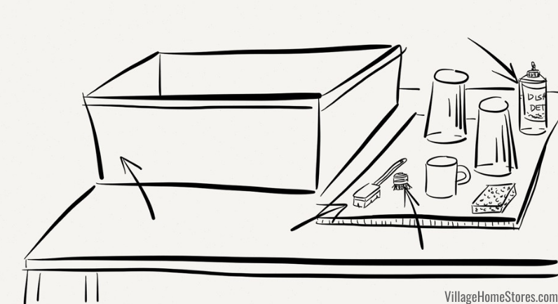 sketch of kitchen remodel wash station setup with tub and washing supplies.