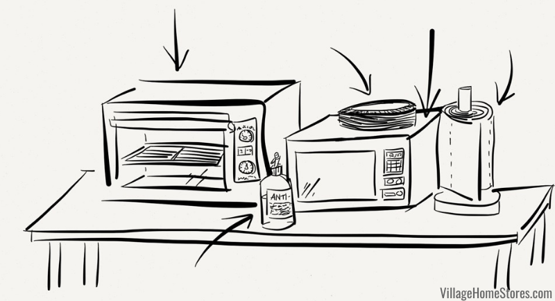 sketch of temporary kitchen setup during a remodel with small appliances and paper products.