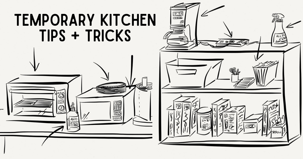 sketch of temporary kitchen tips and tricks for remodel