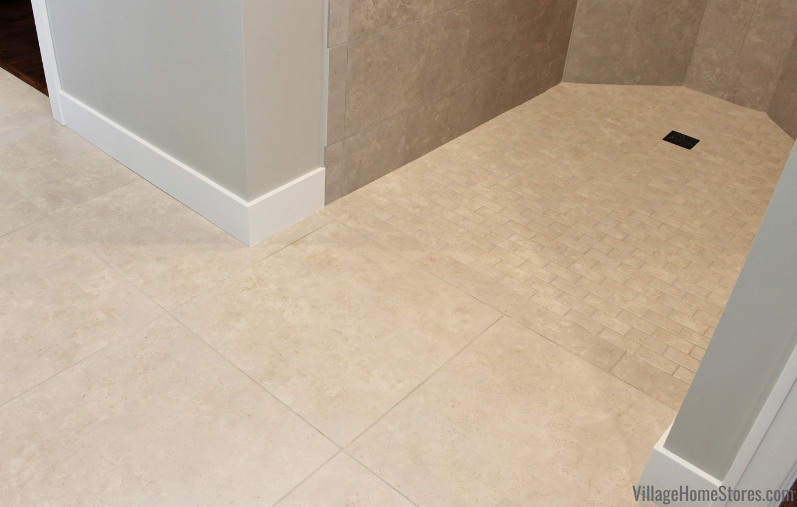 curbless zero entry tiled shower
