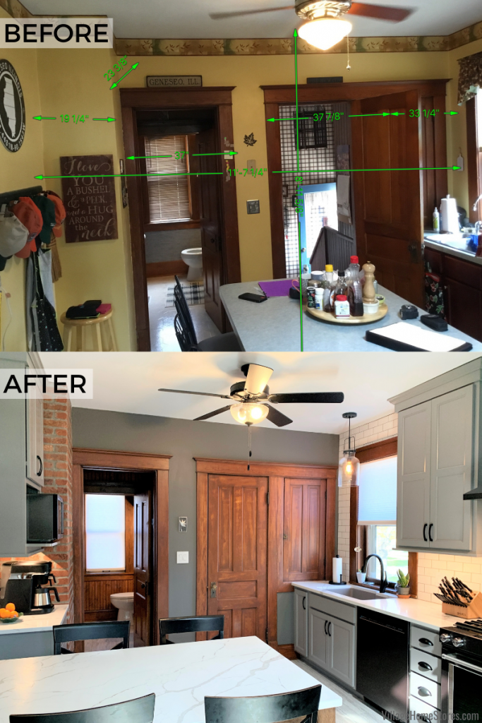 Before and after images of a kitchen renovation by Village Home Stores in Geneseo, Illinois.