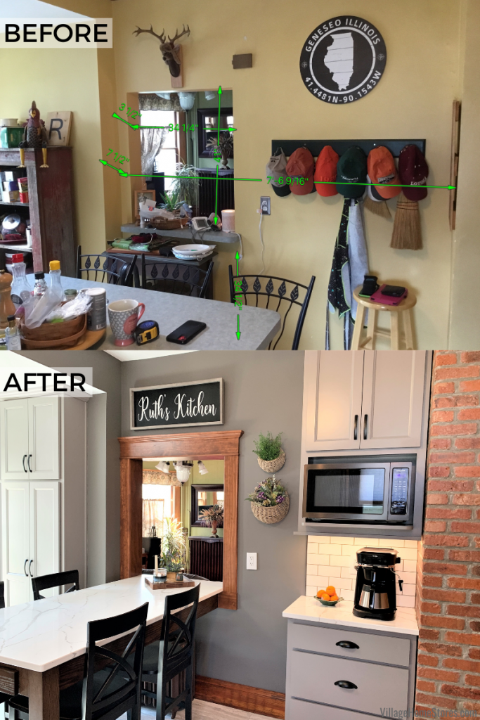 Before and after images of a kitchen remodel with pass through by Village Home Stores in Geneseo, Illinois.