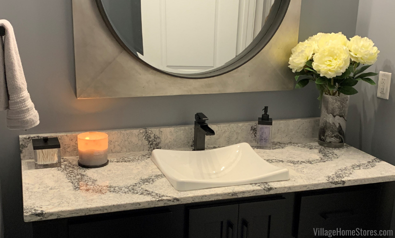 Cambria Quartz vanity top in the Seagrove design with vessel bowl in furniture style vanity.