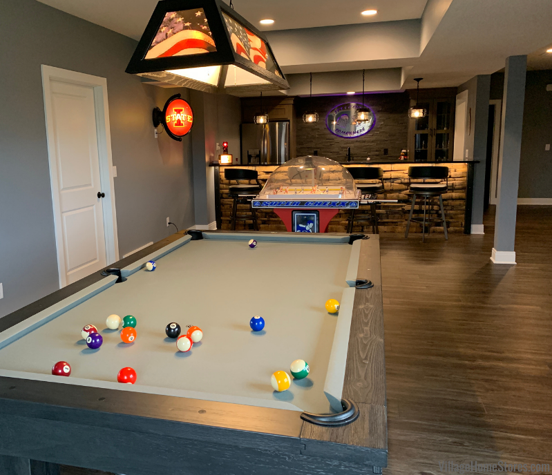 lower level game room and bar with pool table