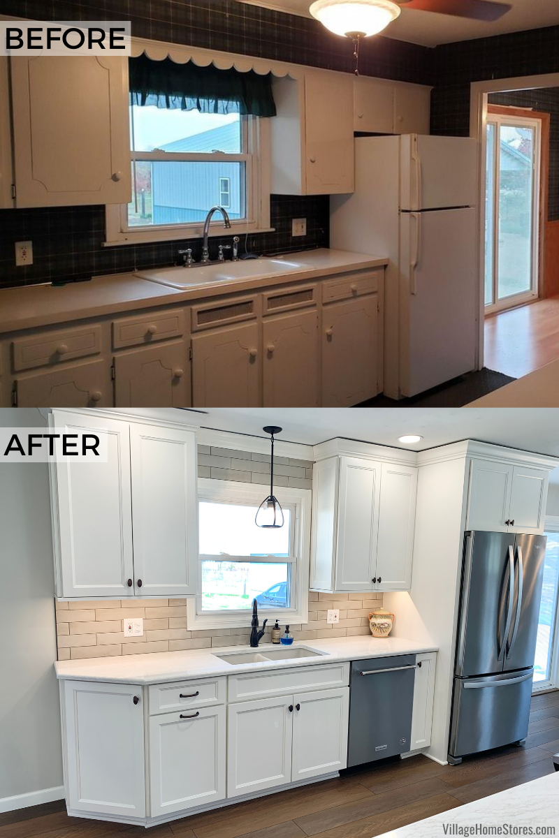 before and after kitchen remodel images with ivory white cabinets