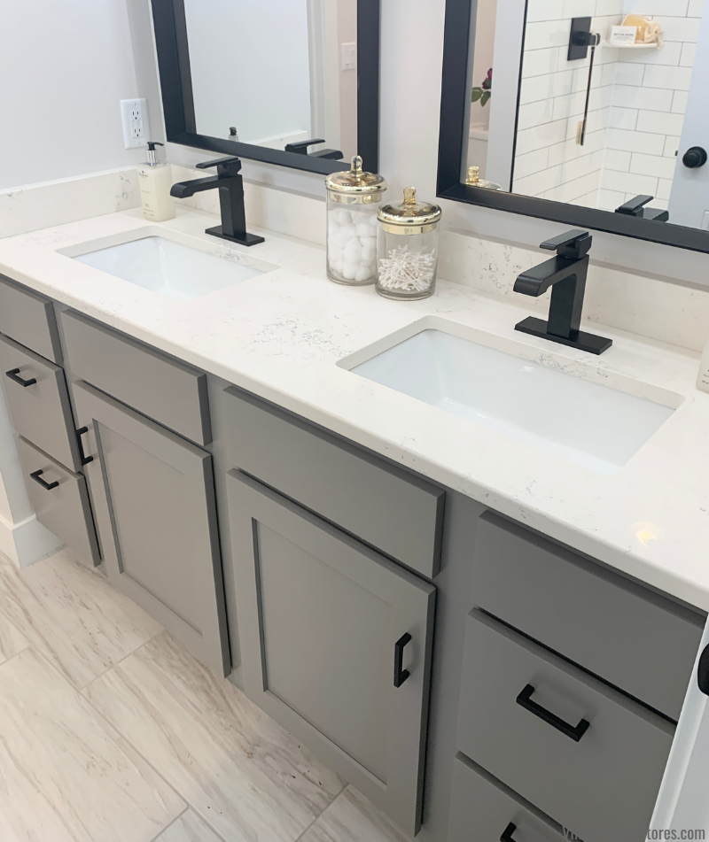 Koch Express vanity in Fog gray paint. Design and select materials by Village Home Stores for McCoy Homes in Seng Meadows.