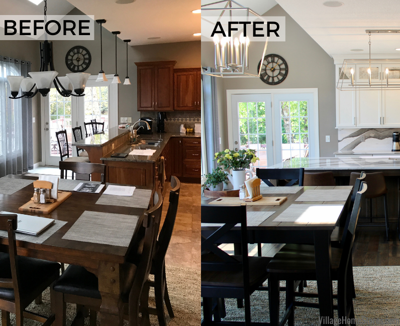 Before and after side by side images of a Bettendorf kitchen remodel by Village Home Stores.