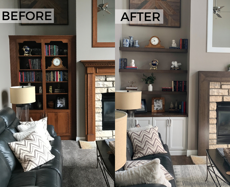 Before and after images of Bettendorf living room built in cabinetry by Village Home Stores.