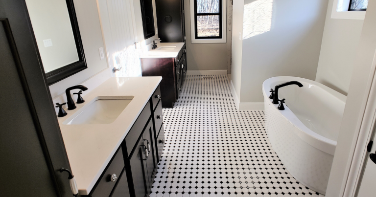 Primary bathroom in a new home in Coal Valley Illinois