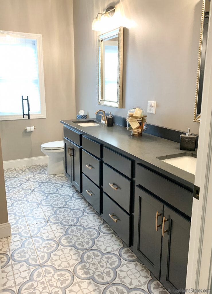 Bathroom design in Koch Prairie door and Charcoal Blue paint with painted tile floor in a Coal Valley Illinois home.