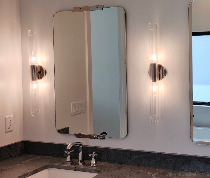 Mitzi Hudson Valley Cecily sconce in chrome hangs in a Moline, Illinois bathroom.