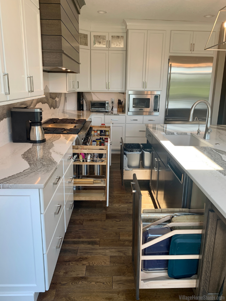 Kitchen remodel from Village Home Stores with custom Amish cabinetry and lots of great pullout storage solution cabinets.