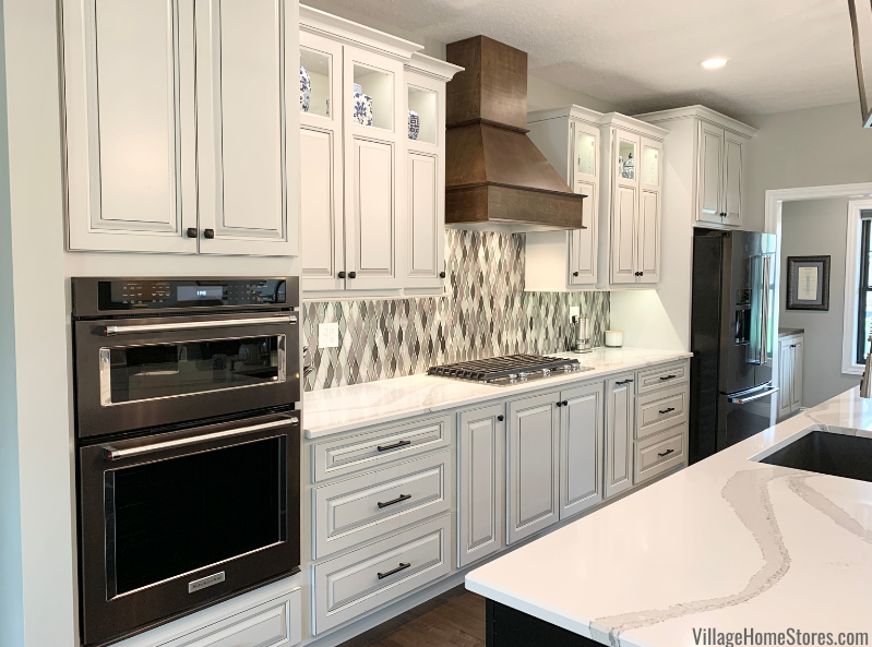 Kitchen with painted finish and accent glaze on cabinets