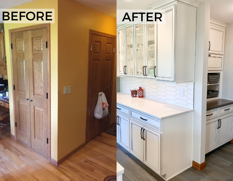 before and after kitchen closet and drop zone transformation.