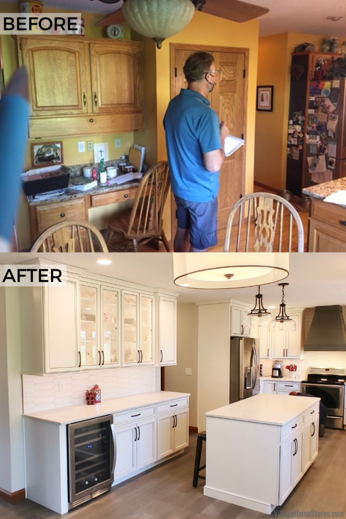 Side by side comparison showing the before and after of a kitchen hutch area remodel in a Geneseo, Illinois home.