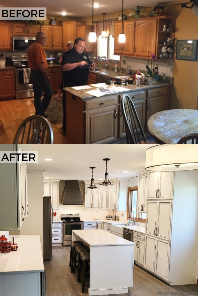 Before and after of a kitchen remodel in a Geneseo, Illinois home with design, materials and complete remodel by Village Home Stores.
