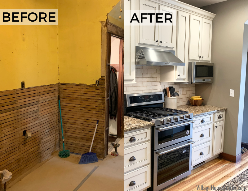 Kitchen remodel before and after images from a farmhouse in rural Alexis, Illinois. Design, materials, and complete start to finish remodel by Village Home Stores.