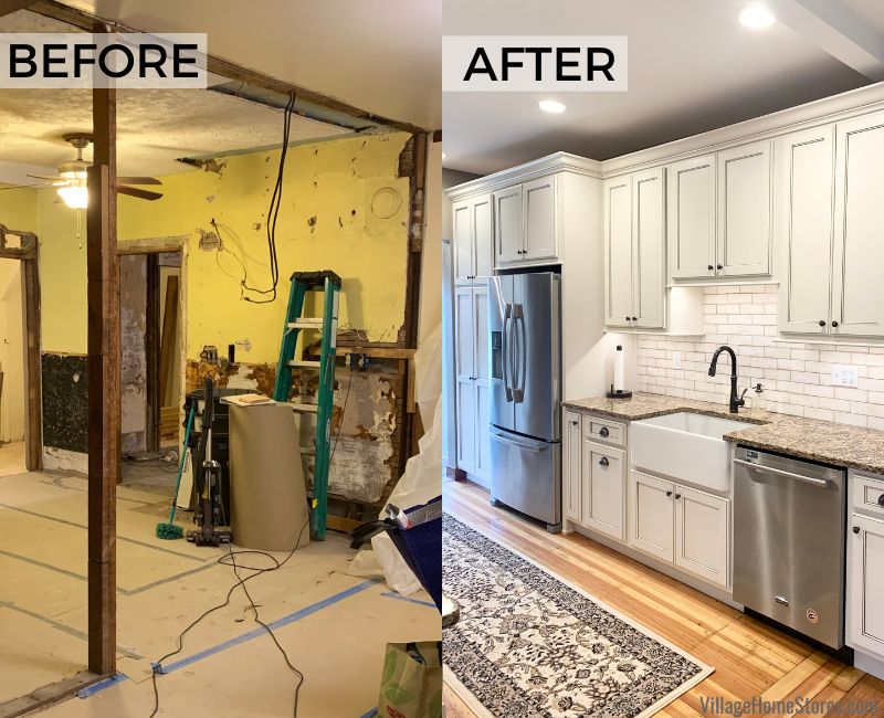 Kitchen sink wall remodel in rural Alexis, Illinois. Design, materials, and complete start to finish first level home remodel by Village Home Stores.