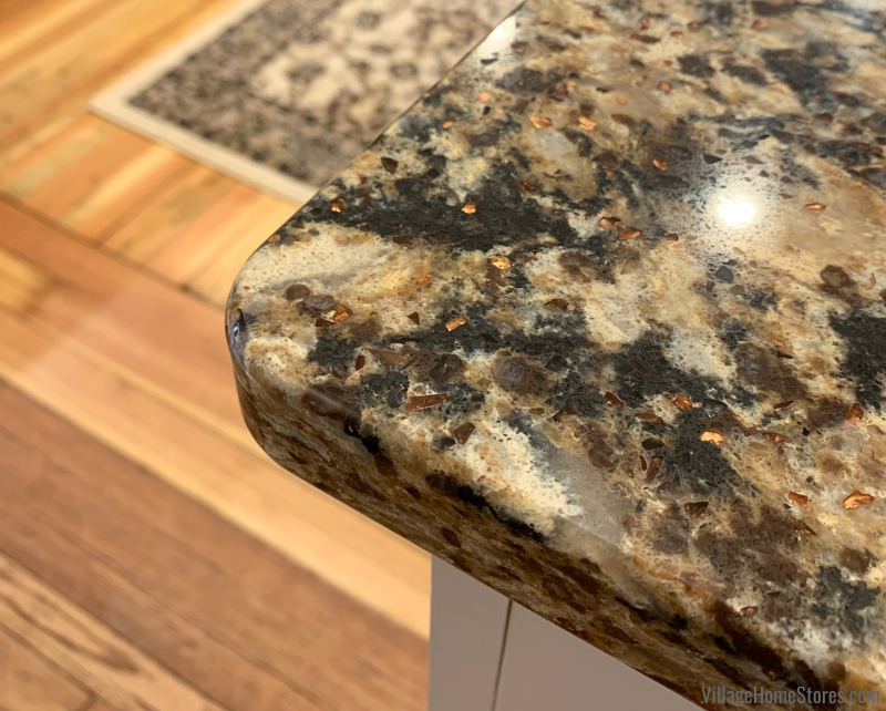 Close up shot of a corner of kitchen countertops in the Cambria Quartz Canterbury design with Eased edge.