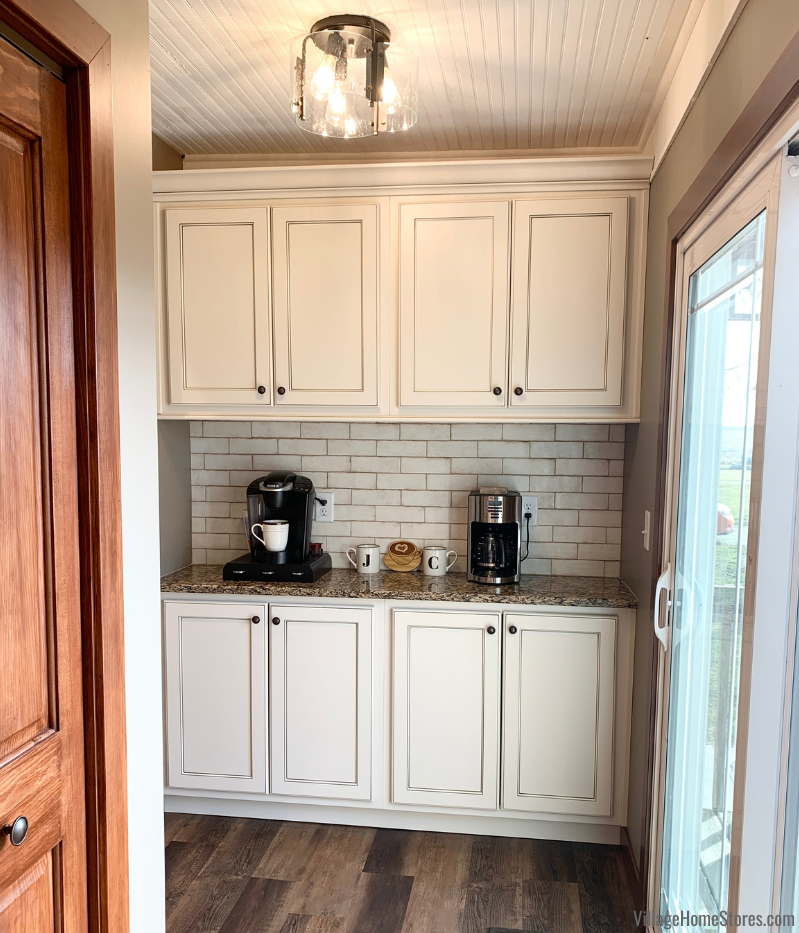 Coffee bar cabinet station off of kitchen
