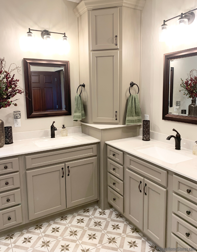 """Bathroom remodel with corner vanity cabinets in Koch Prairie door style and """"Taupe"""" painted finish."""